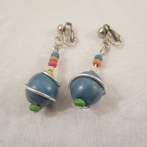 Jewelry - Wire Wrapped Bead Clip On Earrings